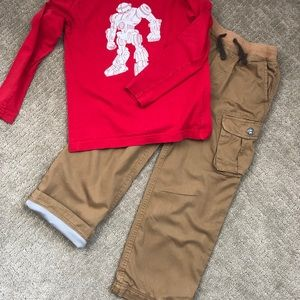 Hannah Andersson khaki lined Cargo Pants 130 (8)